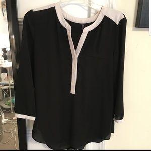 NYDJ Black and White Colorblock Blouse